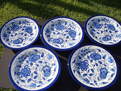 SET OF 4 Bombay China Blue & White Assorted Oriental Dragon Round 8 ...
