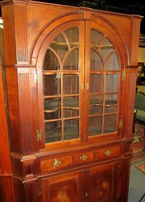 Antique New York  Walnut Chippendale Corner Cupboard Circa 1790 Rat Tail Hinges