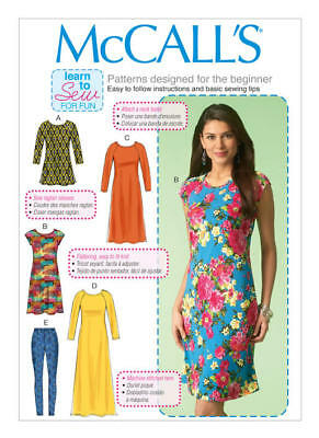 McCall's Sewing Pattern 7122 Misses 16-26 Learn to Sew Tunic Dresses Leggings