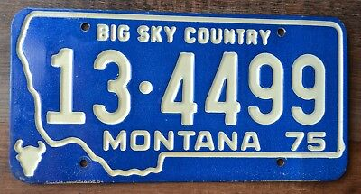 Montana 1975 License Plate 13 4499 Big Sky Country green white state outline