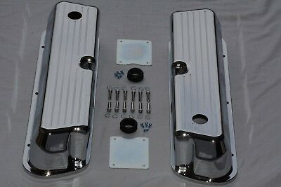 Chrome Aluminum Ball Milled Small Block Ford 289 302 351W Tall Valve Covers SBF