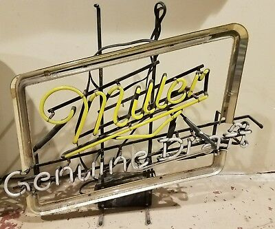 Miller beer sign vintage bar neon light genuine draft broke needs repaired