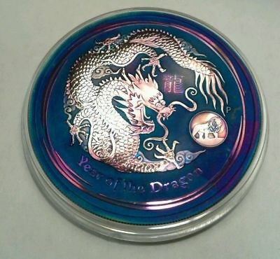 2012 1 oz Silver Australian Year of the Dragon Coin (Lion Privy)***Toned***