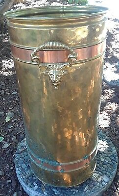 Vintage HOLLAND COPPER & BRASS LIONS HEAD HANDLES Umbrella STAND & CLAW FEET