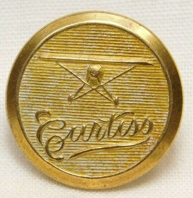 Antique BRASS UNIFORM Button Curtiss AIRPLANE Browning King & Co BKMK