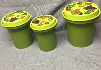 Vintage Retro Rubbermaid 1970's Green Mushroom Canisters Kitchen