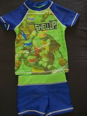 Toddler Boys size 2 TMNT Turtles Rashie Swim Top Shorts Set Swimmers