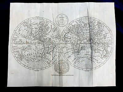 Thomas  Bowin Map of the World - 1791 -  Discoveries of Captain Cook vintage