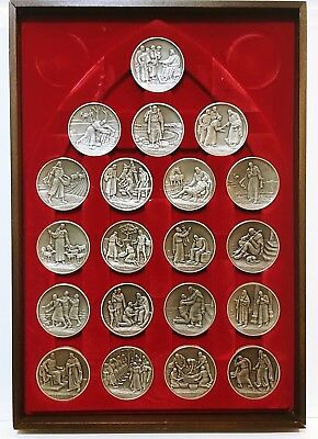 Complete Set 20 Parables of Jesus Solid Sterling Silver Medals - 83 Troy Ounces!