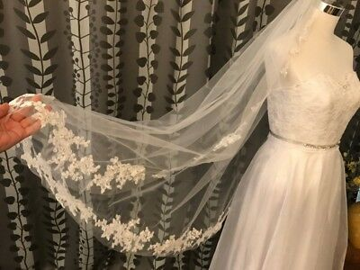 Fingertip Length Wedding Veils Bridal with Comb Formal Appliques White Ivory New