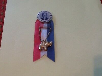 Dwight D. Eisenhower Pin Back Button And Ribbon With Elephant