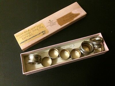 Antique 800 Silver Set of 9 Napkin Rings 6 Breakfast 3 Luncheon With Box