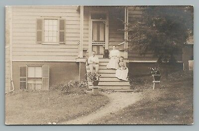 Family w Porch Dogs RPPC Antique Puppy Photo—Spaniel—Arts & Crafts House 1910s