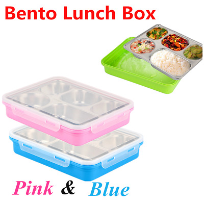 Bento Lunch Box Food Container School Picnic 5 Leakproof Compartments by Yumlock