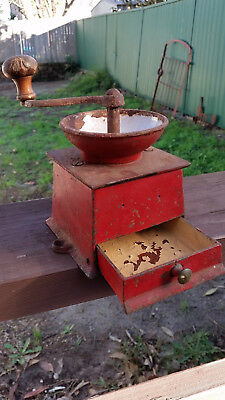 Antique iron and enamel coffee grinder