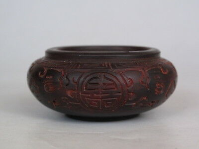 Rare Chinese Hand Carved Ox horn Brush Washer