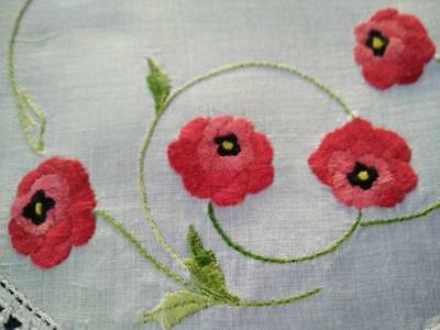 Sweet Red Poppies ~ Vintage Hand embroidered Doily