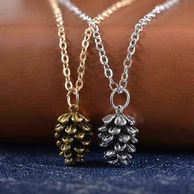 Vintage Women Pine Cone Shape Pendant Charm Chain Necklace Jewelry Gift New Tren