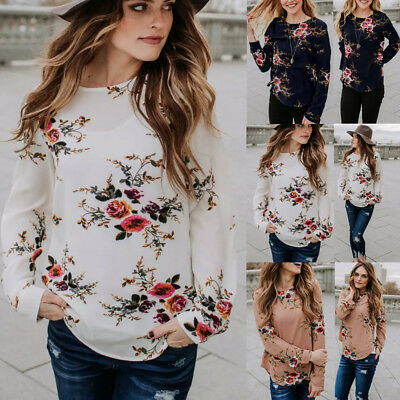 Women Floral Long SLeeve Tops Ladies Casual Crew Neck Loose Blouse T Shirt