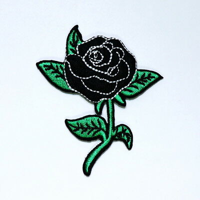 Black Rose Flower Rockabilly Retro Vintage Tattoo Style Jacket Bag Iron on Patch