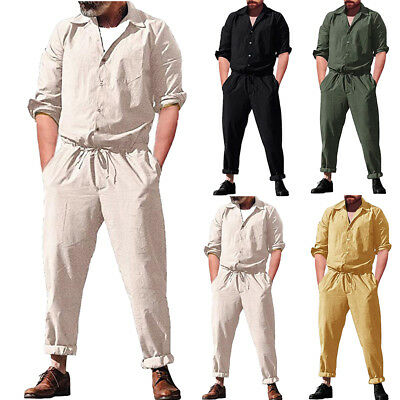 Men s One Piece Rompers Long Sleeve Street Casual Cargo Pants Jumpsuit  Overalls e7e546c9043
