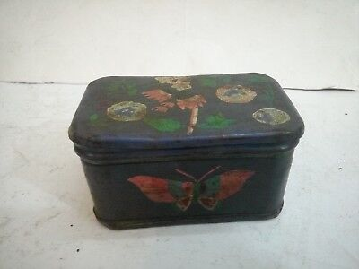 Vintage old Iron Handcrafted Unique Hand Painted Jewelry Tin Box Collectible