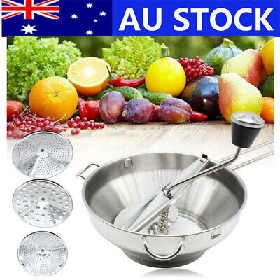 Stainless Steel Vegetable Fruit Food Mill Strainer Grinder Mill 3 Milling Discs