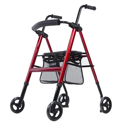 OEM ELENKER Drive Medical Red Rollator Folding Walker Adult 4 Wheels Free Ship
