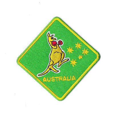 BOXING KANGAROO GREEN & GOLD Iron on / Sew on Patch Embroidered Australia PT431
