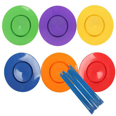 6Pcs Plastic Spinning Plates With Sticks Magic Circus Trick Juggling Kids Toy