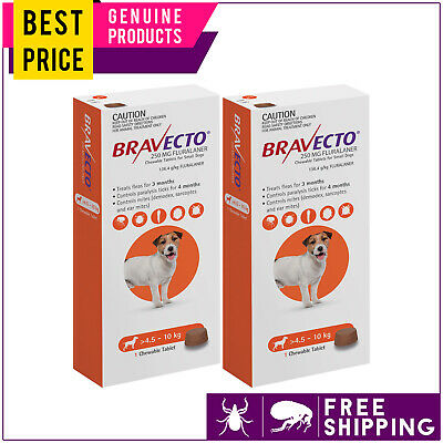 Bravecto For Small Dogs 4.5 to 10 Kg Orange 2 Doses Flea and Tick Control