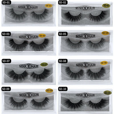 3D Mink Natural Thick False Fake Eyelashes hand made  Lashes Makeup Extension