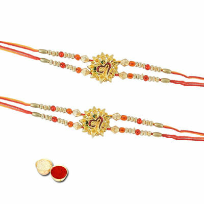 Happy Rakhi 2 Designer Indian Om Rakhis With Roli Chawal Tika