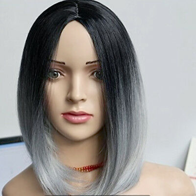 Women Heat Resistant Short Straight Full Wig Black Ombre Grey Hair Wigs Hot