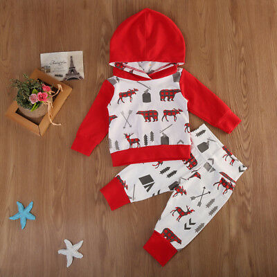 Newborn Baby Boys Girls Deer Hooded Tops Pants Leggings Outfits Set Clothes 2Pcs