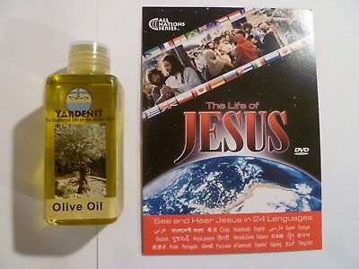 Israel Holy Land Galilee Olive Anointing Oil-4 Oz-125 Ml+ Jesus Film Dvd-New!