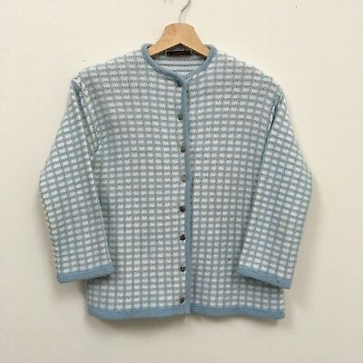 Vintage St Michael Grid Cardigan - ORLON 1950s 1960s Mod White Blue Made In UK
