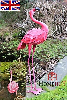 Metal Pink Garden Flamingo Pond, Party Ornaments Decoration free standing 100cm
