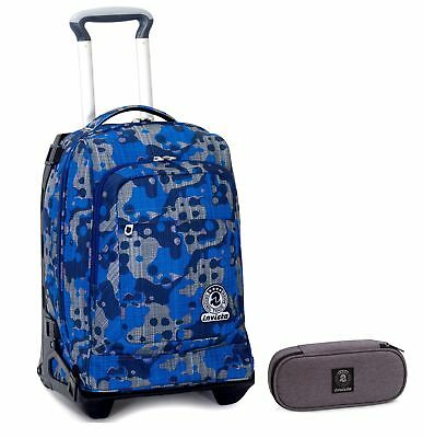 TROLLEY TECH INVICTA + Portapenne - Camouflage Blu - 2in1 Carrello sganciabile Z