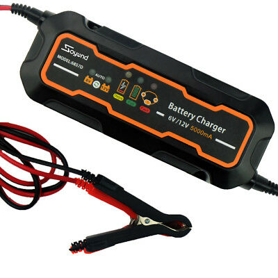6V&12V 5000mA Automotive Trickle Battery Charger Maintainer for Car Motorcycle
