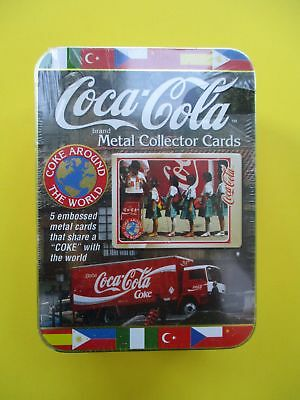 COCA-COLA International METAL Collector Cards TIN (5) Embossed Share Coke World