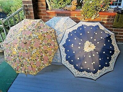 Vintage LOT OF 3 Parasol Umbrella Lucite handle Chic French NICE 1950'S - 60'S