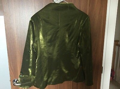 lime and olive green satin feel evening jacket approx size 14