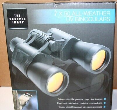 NEW The Sharper Image RUBY COATED Binoculars 7 X 50 All Weather UV Carry Case