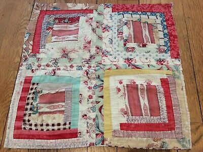 "time worn faded antique log cabin patchwork quilt piece textile art 14½"" square"