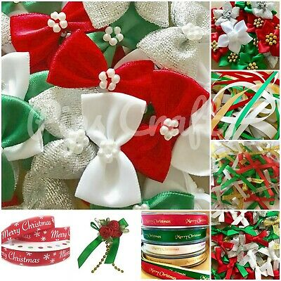 Christmas Ribbon & Bows 3mm 7mm Bow Ties Poinsettias Mixed Card Making Crafts