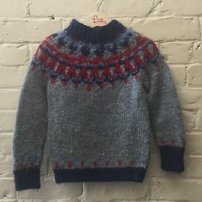 vtg Small Girl Boy Handmade All Wool Nordic Sweater Ski Blue