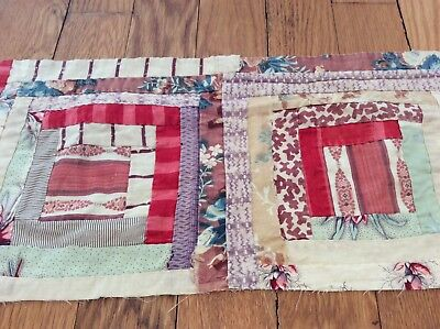 "time worn faded antique log cabin patchwork quilt piece textile art 7½""x16½"