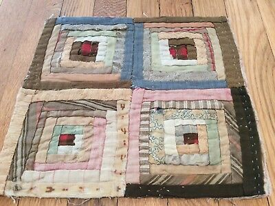 "time worn faded antique log cabin patchwork quilt piece textile art 11""x13"""