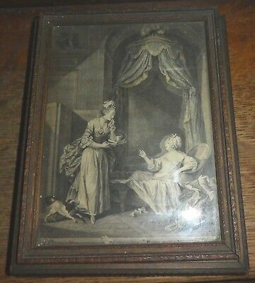 Antique Sepia Print Victorian Boudoir Lady at Her Mirror Divided Wooden Box